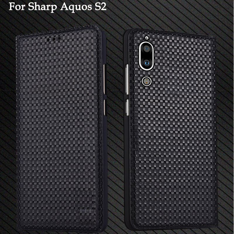 5.5inch Genuine Leather back case cover For Sharp Aquos S 2 coque capas flip case shell cover For Sharp Aquos S2