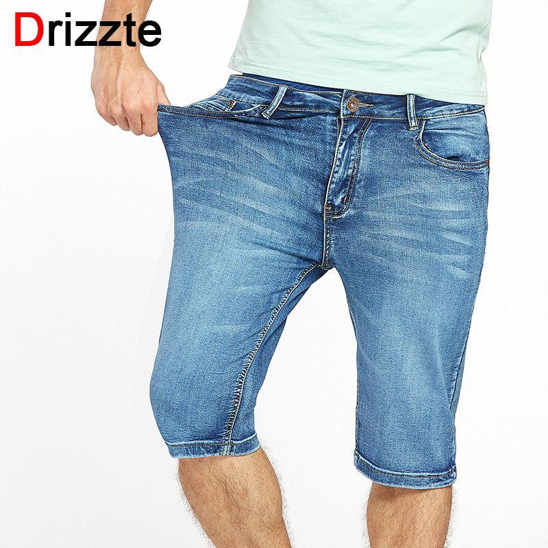 Drizzte Brand Mens Summer Stretch <font><b>Lightweight</b></font> Thin Denim Jeans Short for Men Jean Shorts Pants Plus Size 32 33 34 35 36 38 40 42