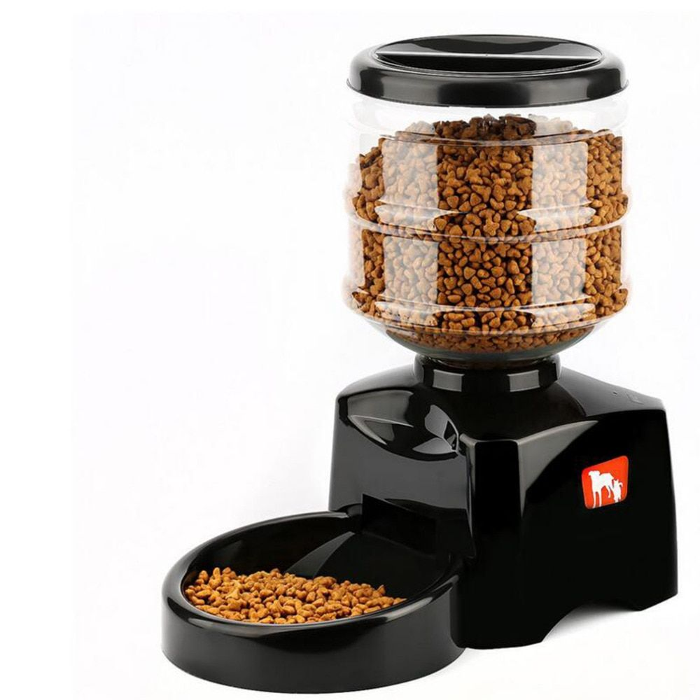 5.5L Automatic Pet Feeder with Voice Message Recording LCD Screen Large Smart Dogs Cats Food Bowl Dispenser Black 2 Colors
