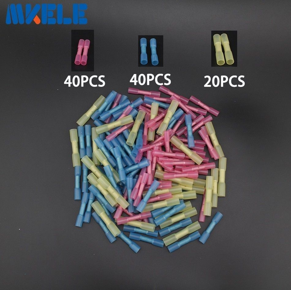 100pcs Insulated Heat Shrink Butt Connectors Wire Electrical Crimp Terminals 22-10 AWG Kit