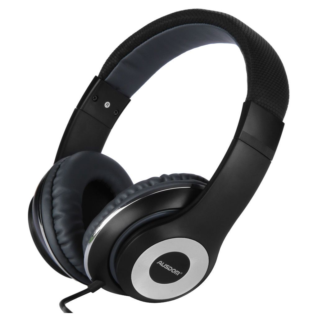 AUSDOM Universal Wired 3.5mm Extra Bass DJ Over Ear Stereo Headphone Headset MIC