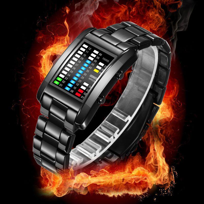 BOAMIGO New Popular Brand Men Luxury Creative Watches Digital LED Display 50M Waterproof Wristwatches Quality Steel Band Clock