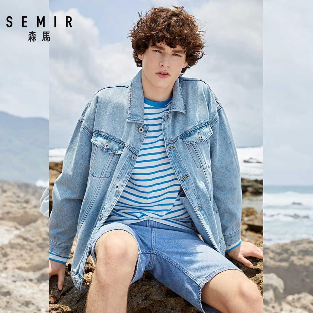 SEMIR denim Jackets men coat dark Blue Casual Teens Denim Jacket cotton Turn-down Collar Long Sleeve Denim Bomber jackets