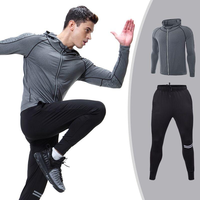 Men's Sportswear Running Set Sports Set jogging Suits Clothes Tracksuit Zipper Coat And Pants Gym Traning Fitness Set 2pcs/Sets