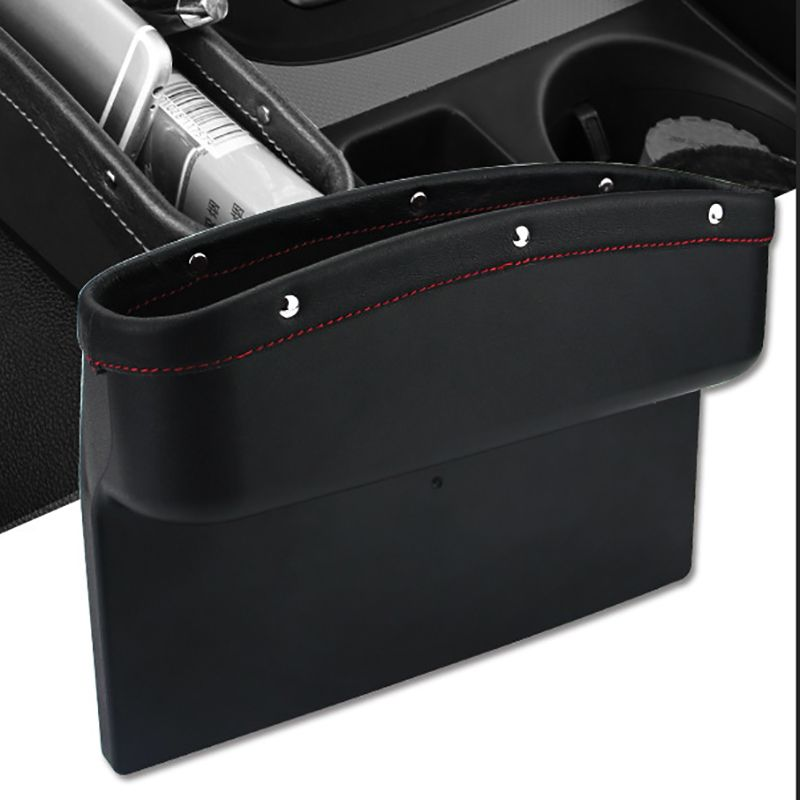 Car Seat Organizer Leather Car Seat Storage Box Console Side Pocket with Non-Slip Mat for Cellphone Wallet Coin Key Card