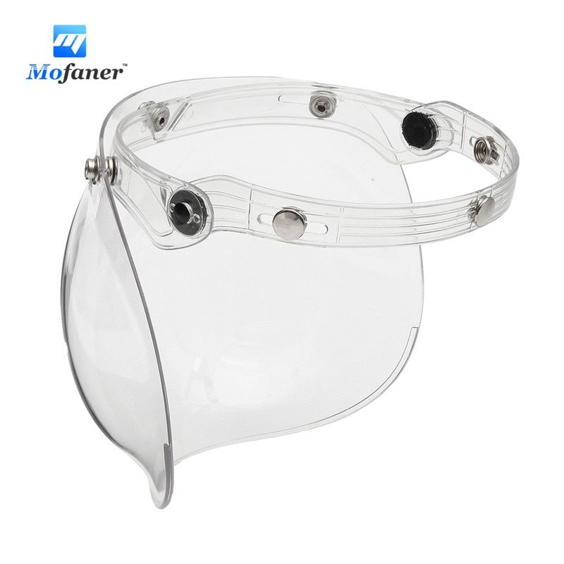 3 Snap Bubble Shield Mask Visor For Motorcycle Vintage Open Face Helmet