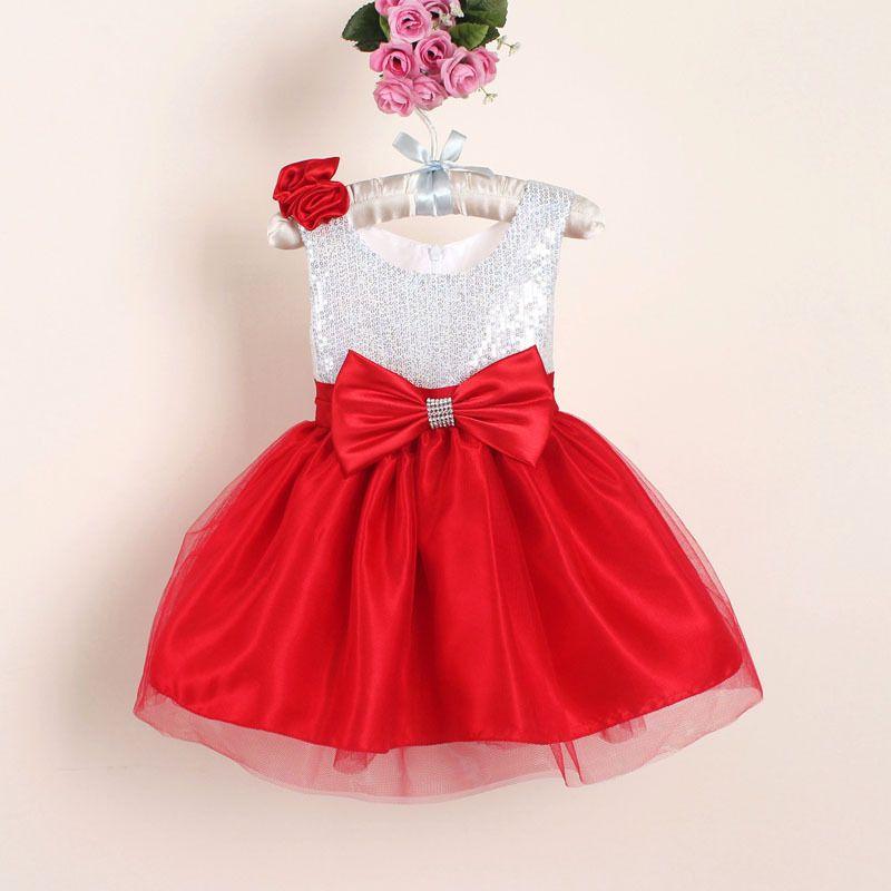 Nouvelle De Noël Fleur Fille Robes Chaude Rouge Sequin Grand Arc Bébé Party Dress pour le mariage robes infantis 0-4 ans