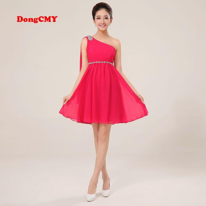 Dongcmy cg1065 Новинка 2017 года вечерние Большие размеры одно плечо Vestido дизайн короткое шифоновое платье для выпускного вечера
