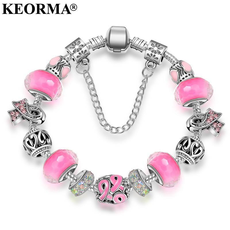 KEORMA New Pink Awareness Bracelet Purple & Ribbon Crystal Beads European style charm bracelet For Women jewelry KM010
