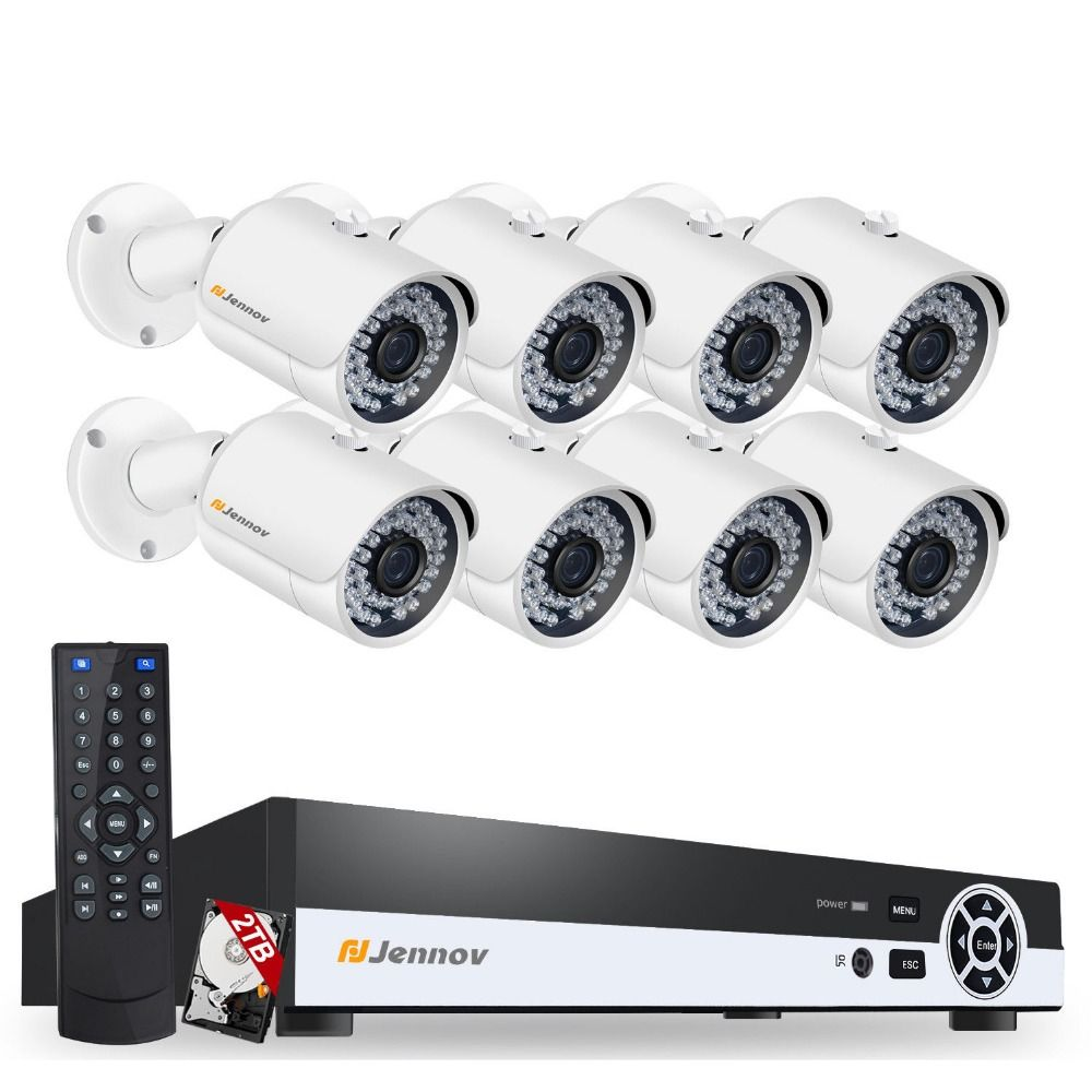 HD 8CH 1080P 2MP Home Security POE IP Camera Wired Video Surveillance CCTV Home Outdoor Cameras Night Vision With NVR No Wifi