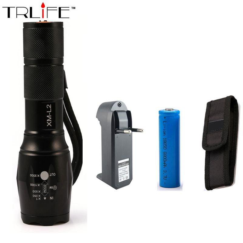 E17 LED Flashlight 18650 Zoom Torch Waterproof Flashlights XM-L T6 8000LM 5 Mode Led Zoomable Light For 3x AAA or 3.7v Battery