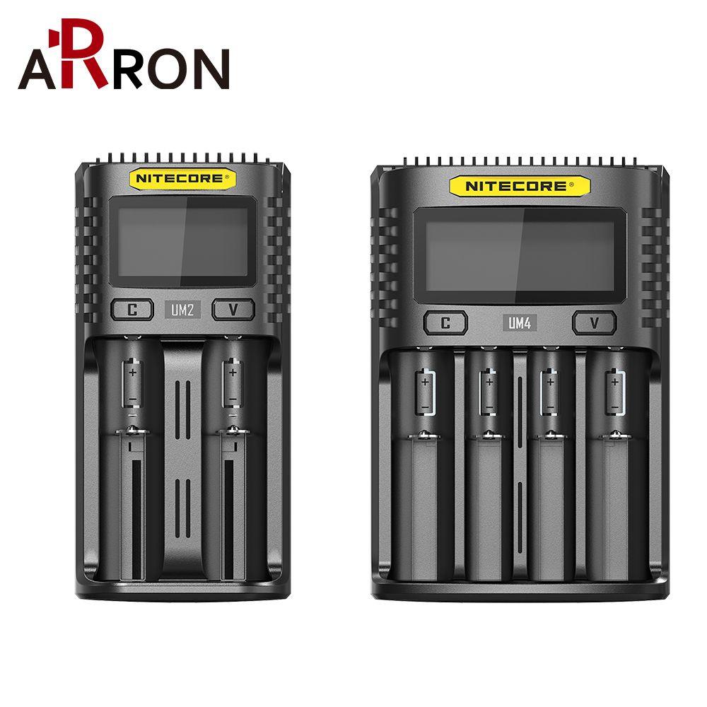 Offizielle Nitecore UM4 UM2 SC4 USB QC Batterie Ladegerät Intelligente Schaltung Globalen Versicherungs li-ion AA AAA 18650 21700 26650