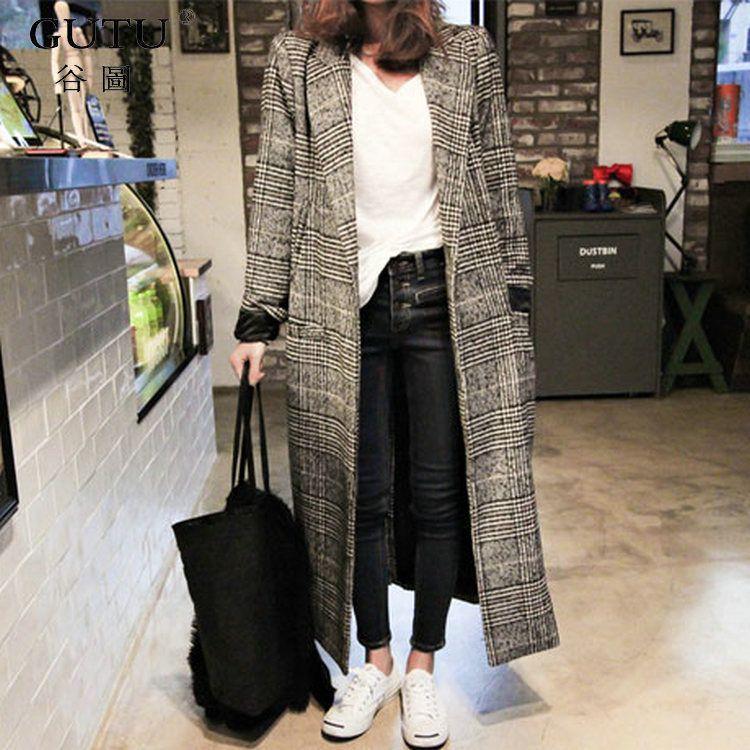 [GUTU]2018 Autumn And spring Korean Solid Color Long Sleeves Lapel Lattice Wool Long Loose Single Button Coat Woman E80602