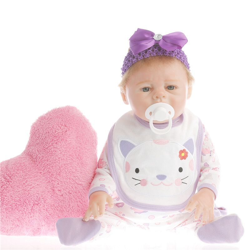 SanyDoll 2017 Hot New Reborn Silicone Baby Doll Beautiful purple flower doll Magnet Pacifier 20''/50cm
