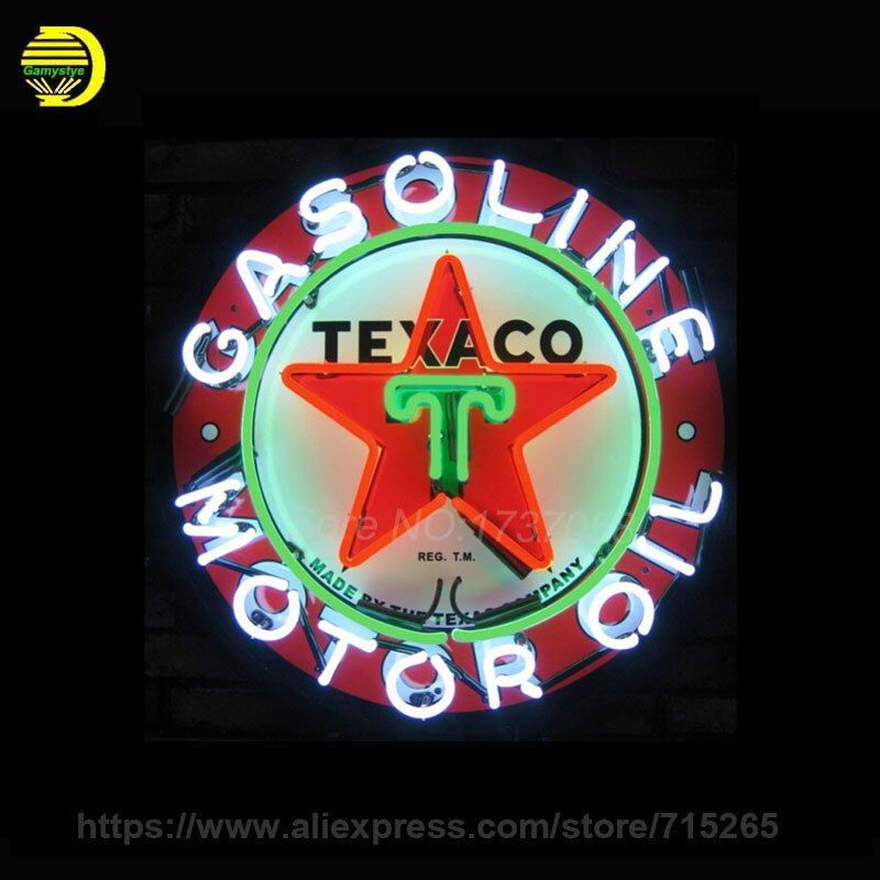 Neon Sign For Texaco Motor Oil Neon SignS Gasoline Commercial Board Neon Lamp Glass Tube Handicraft gas Shop Display VD 24