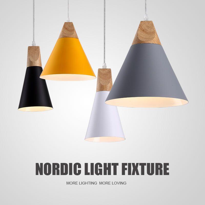 Lampes à pente lampes suspendues bois et aluminium Restaurant Bar café salle à manger LED luminaire suspendu