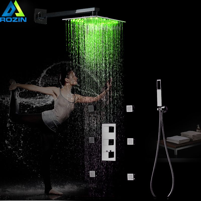 Thermostatic Mixer Shower Faucet Concealed LED light 12