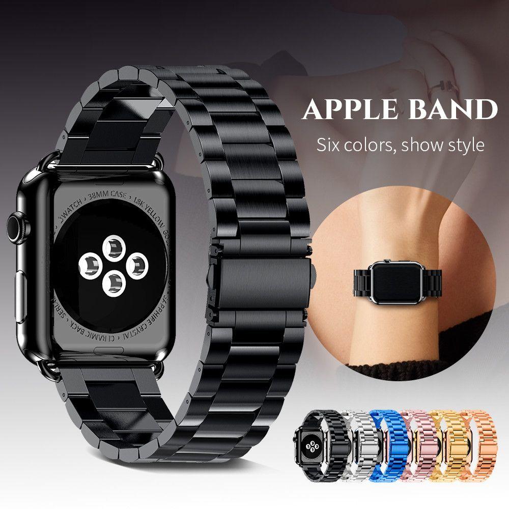 Bracelet en acier inoxydable pour montre Apple 4 40mm 44mm Bracelet à maillons en métal Bracelet iWatch pour montre Apple série 1 2 3 42mm 38mm