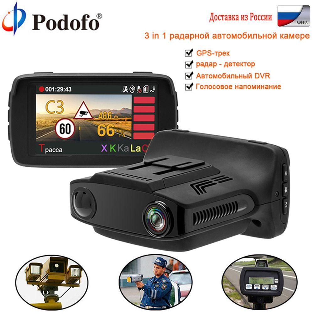 Podofo Car DVR Radar Detector GPS Tracker 3 in 1 Ambarella Car detector Camera FHD 1080P Radar Speedcam Anti Radar Dash Cam WDR