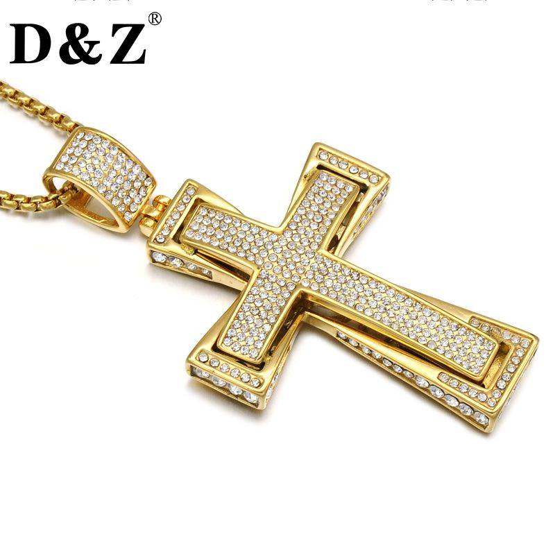 D&Z Iced Out Two Layers Pave Rhinestone Cross Pendant Necklace Gold Color Stainless Steel Crucifix Necklaces for Men Jewelry