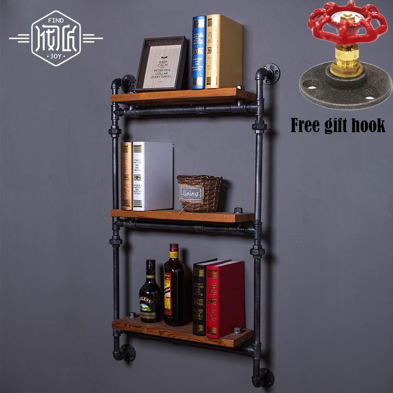 LOFT Art Vintage Holz Wandhalterung Regal Separatoren Amerikanischen Antiken Schmiedeeisernen Wandregal Bookshelf-Z8