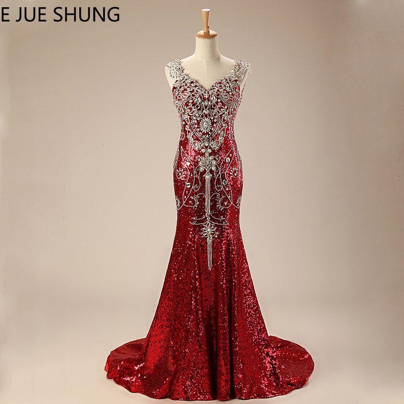 E JUE SHUNG Rot Pailletten Kristalle Luxus Meerjungfrau Abendkleider Lange 2018 Schatz Bling Abendkleider Formale Kleider