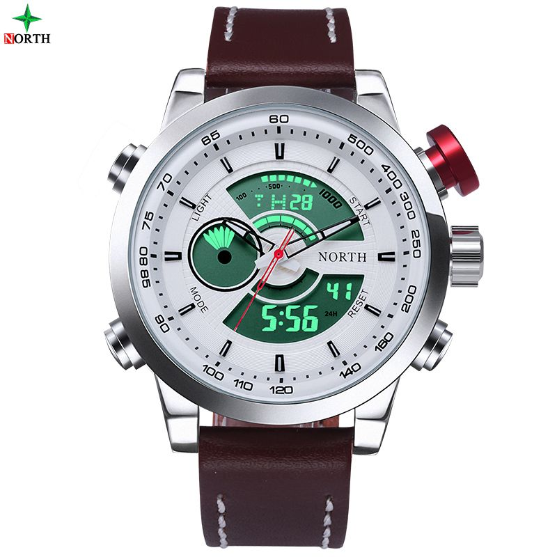 Men Sport Watch 30M Waterproof LED Digital Male Watches NORTH Brand Genuine Leather Alarm Casual Quartz Military Army Wristwatch