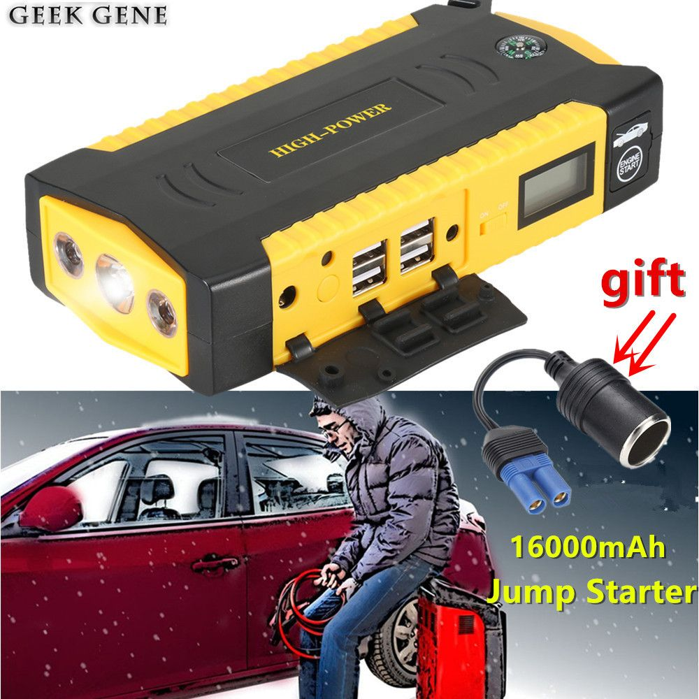 Car Jump Starer 600A Car Charger For Car Battery Booster 16000mAh Protable Starting Device Power Bank Diesel Petrol Auto Starter