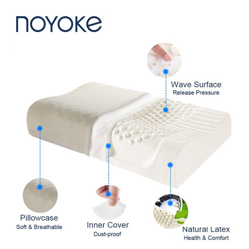 NOYOKE Latex Orthopédique Oreiller De Massage Cervical Lit Oreiller pour Dormir avec Taie D'oreiller