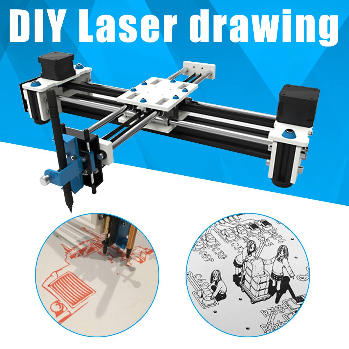 New 280x200mm Mini XY 2 Axis CNC Plotter Pen USB DIY Laser Drawing Machine Engraving Area Desktop Drawing Robot