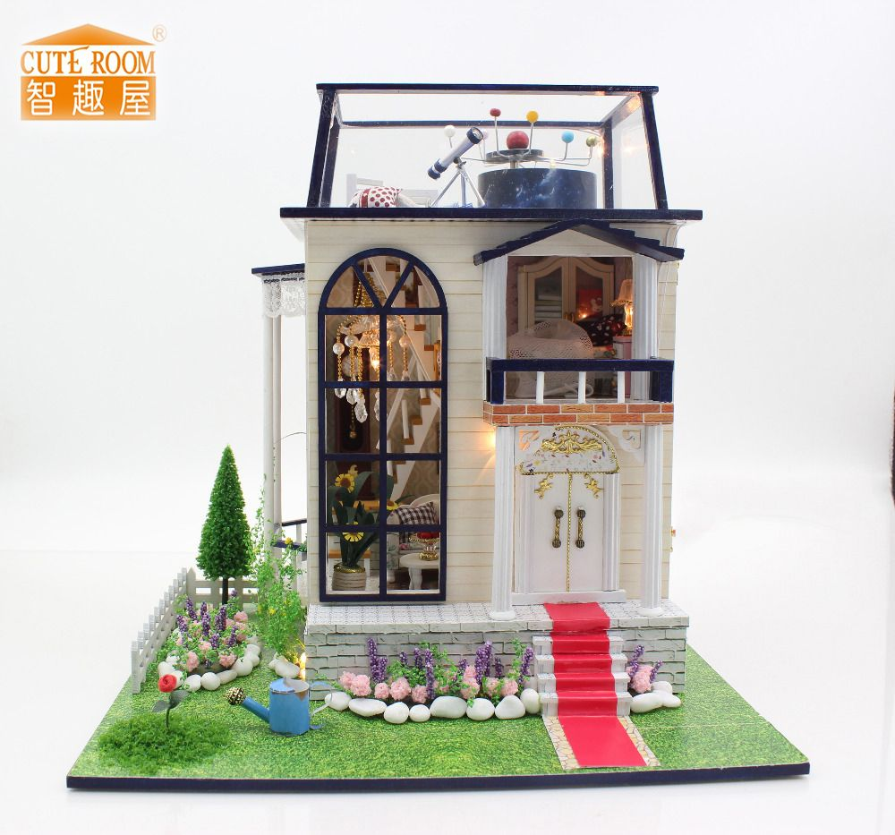 Meubles BRICOLAGE Poupée Maison Wodden Miniatura Poupée Maisons Meubles Kit Puzzle Main Dollhouse Jouets Pour Enfants fille cadeau 13837