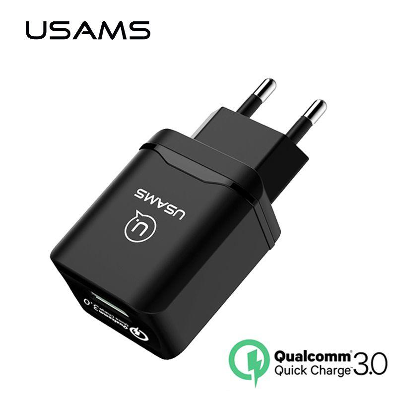 Schnelle Reiselade Qualcomm 3,0 Schnelle USB Handy-ladegerät USAMS 18 Watt EU für iPhone Samsung Kompatibel 2,0 Schnell Normale Wand ladegerät