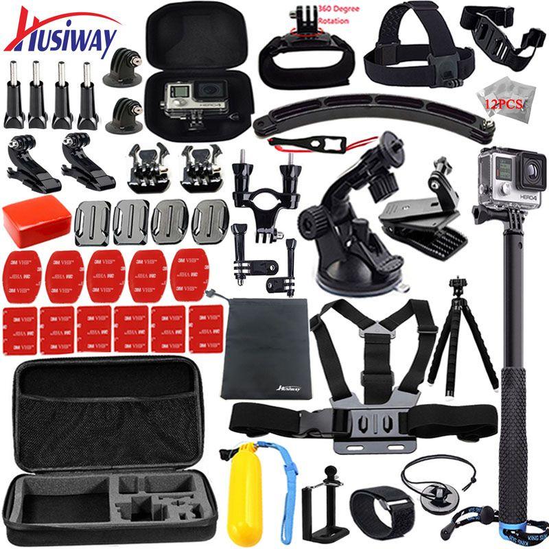 Husiway for gopro accessories set for go pro hero 5 4 3 kit mount for SJCAM SJ4000 / xiaomi yi camera / eken h9 tripod 13L