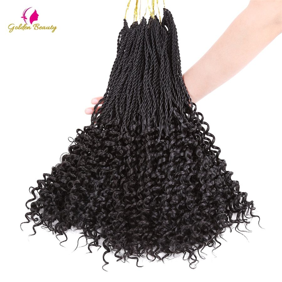 Golden Beauty Curly Senegalese Twist Hair Crochet Braids 14-16-18inch Synthetic Pre-curled Crochet Hair Extensions