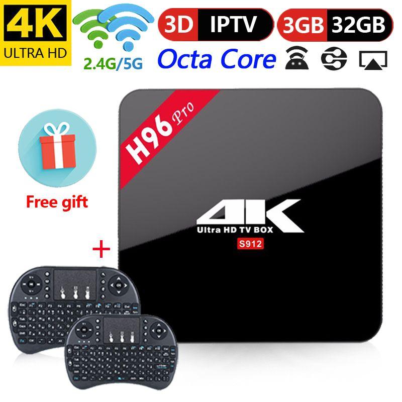 H96 Pro TV Box Amlogic S912 3 gb 32 gb Octa Core Android 7.1 OS BT 4.1 2.4 ghz + 5.8 ghz WiFi Mini PC lecteur multimédia décodeur intelligent