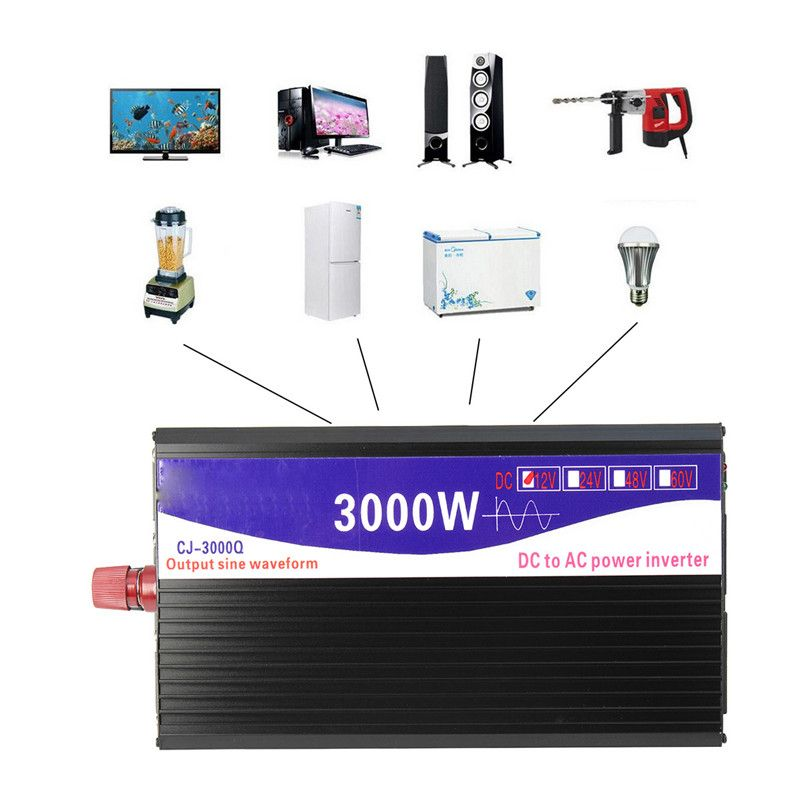 Car Vehicle Power Inverter 12V 220V 3000W Pure Sine Wave 12V DC to 220V AC Transmitter Transformer Power Supply