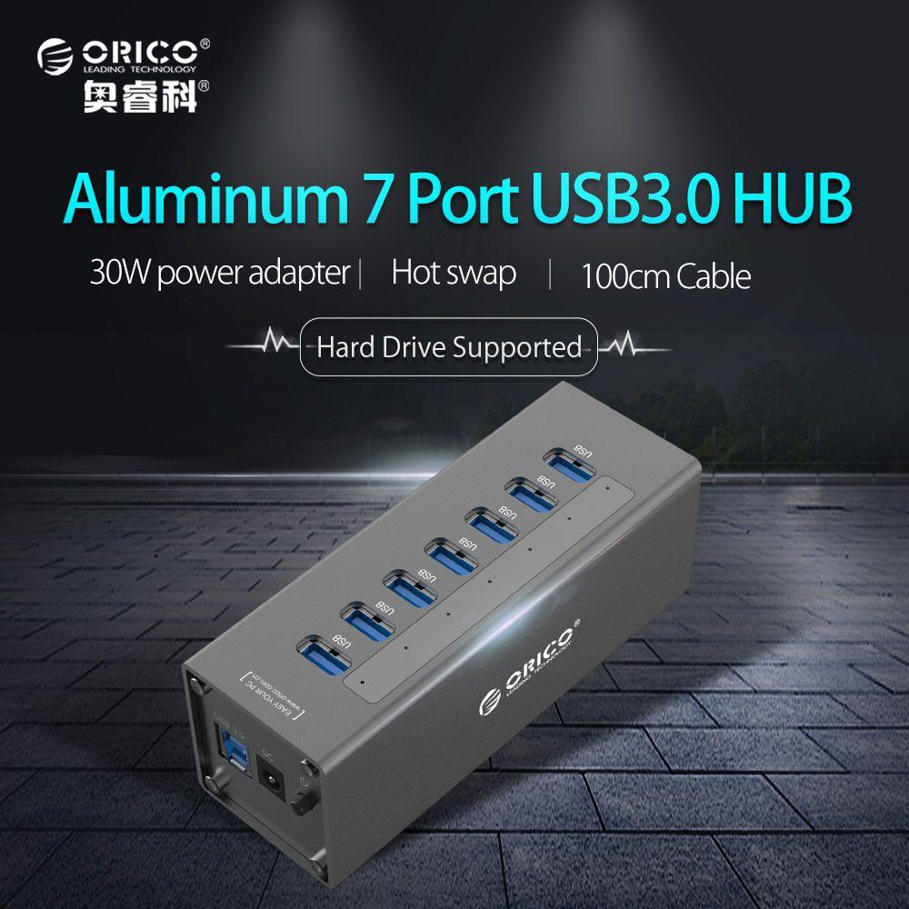 ORICO USB3.0 HUB Aluminium Super Speed 7 Ports Usb Splitter avec 12 V 2.5A Adaptateur secteur pour Macbook Air Ordinateur Portable PC ordinateur