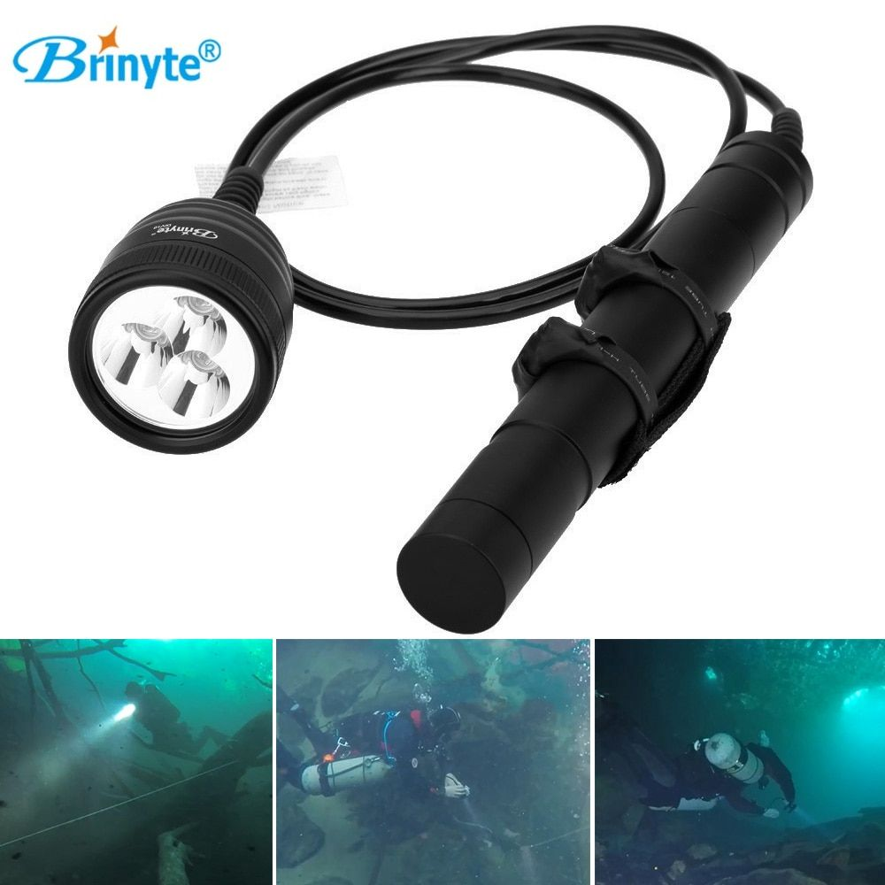 Brinyte DIV10 LED Diving Flashlight CREE XML2 3000lm LED Scuba Diving Torch Light 200M Underwater 3*26650 Batteries Lamp