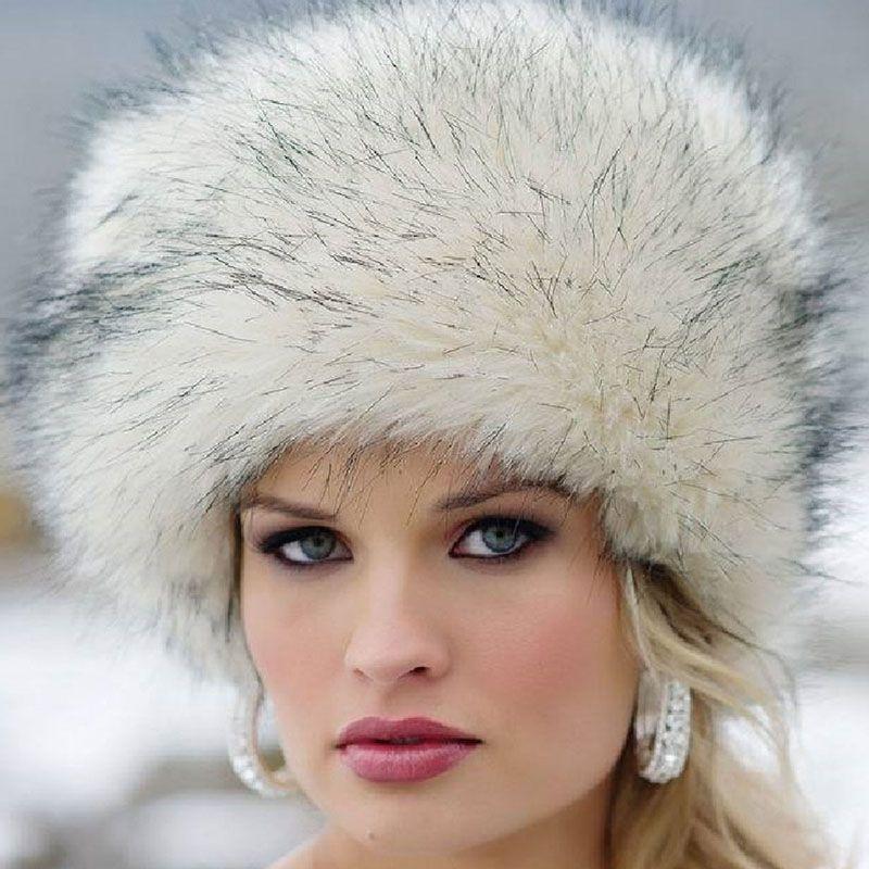 Модные женские туфли женские из искусственного лисьего Мех животных Запорожец Стиль русская зима Шапки теплые Кепки
