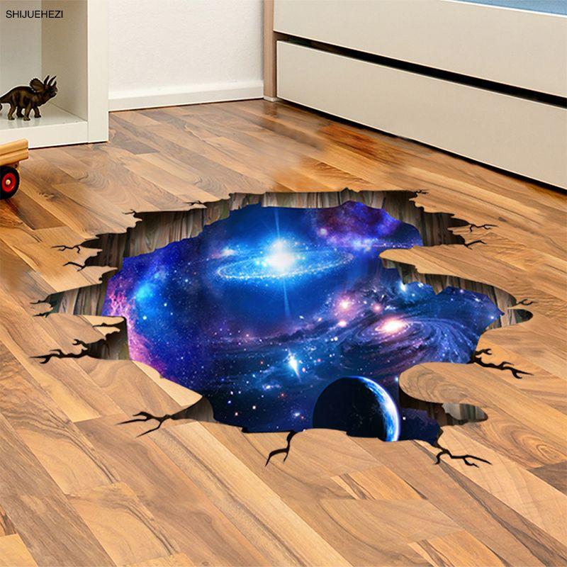 [SHIJUEHEZI] L'espace Planètes 3D Stickers Muraux pour Salon Chambre Décoration De Sol Vinyle BRICOLAGE Home Decor Stickers Muraux
