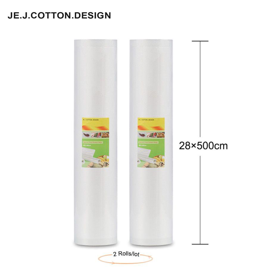 Sacs de vide de 2 rouleaux 28*500 CM pour l'emballage de stockage de nourriture sacs de nourriture d'emballage sous vide Promotions 28*500 cm pour la Machine à emballer