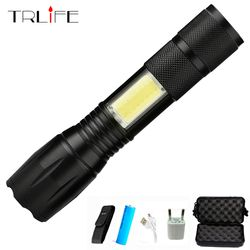 Zoomable Pengisian Usb Senter 8000 Lums Fokus Lanternas T6 Lampu Obor Baru Tiba dengan Kabel USB Baterai
