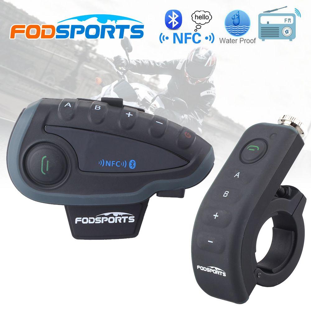 Fodsports V8 Pro BT Interphone with Controller FM NFC Motorcycle Helmet Bluetooth Intercom 5 Rider 1200M Intercomunicador moto