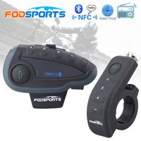 Fodsports V8 Pro Intercomunicador BT Interphone de la motocicleta casco auricular Bluetooth Intercom Intercomunicador moto con FM NFC