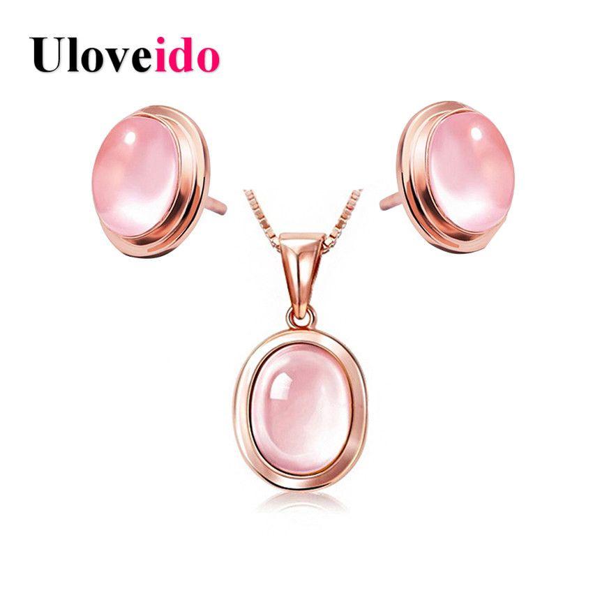 Uloveido rose oro collares y colgantes de color maxi neckalce y pendientes joyería nupcial conjunto rosa simulado opal boda whb97