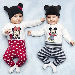 Baby Body Long Sleeve Baumwolle Baby Mädchen Kleidung Cartoon Tier Mickey Minnie Baby Boy Romper + Hut + Hose Neugeborenen kleidung Sets
