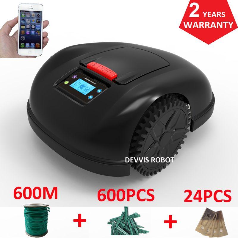 Smartphone APP Contorl Roboter Garten Mäher Mit 13.2AH Li-Ion Batterie + 600 m draht + 600 stücke pegs + 24 stücke Klinge