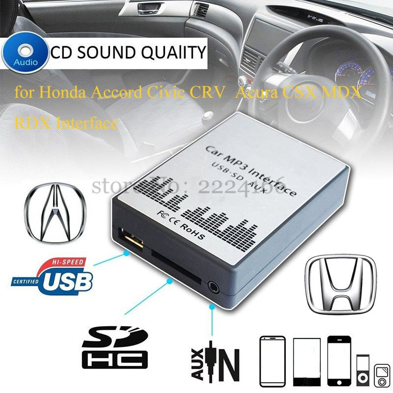 SITAILE USB SD AUX MP3 Music Player Adapter for Honda Accord Civic CRV Acura CSX MDX RDX Interface Free shipping Auto Parts