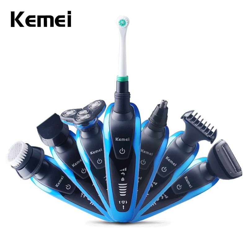 Keimei Multi Waterproof IPX4 Electric Shaver Triple Blade 7 in 1 Electric Shaving Razors Men Face Care 3D Men Shaver 220V