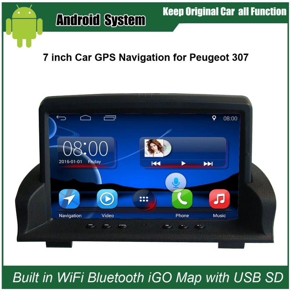Upgraded Original Android Car Radio Player Suit to Peugeot 307 Car Video Player Built in WiFi GPS Navigation Bluetooth